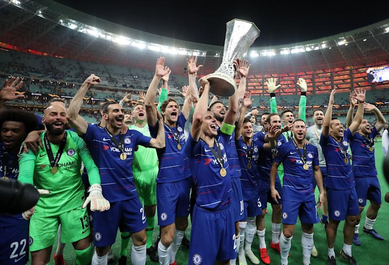 Chelsea's Cesar Azpilicueta celebrates with the trophy and team mates after winning the UEFA Europa League final at The Olympic Stadium, Baku, Azerbaijan. (Photo by Bradley Collyer/PA Images via Getty Images)