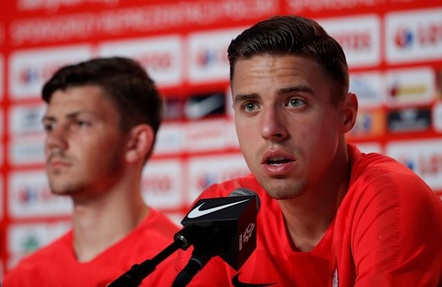 Soccer Football - World Cup - Poland Press Conference - Poland Training Camp, Sochi, Russia - June 21, 2018 Poland's Jan Bednarek during the press conference REUTERS/Francois Lenoir