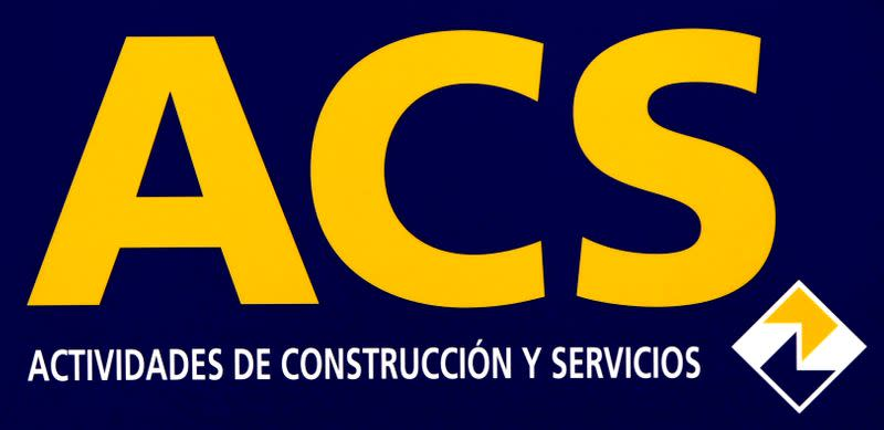 FILE PHOTO: The logo of Spanish construction, energy and services group ACS is seen during the company's annual shareholders meeting in Madrid