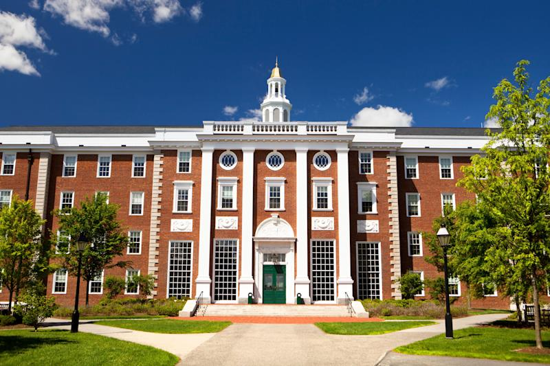 Harvard Business school building in Cambridge, Mass.