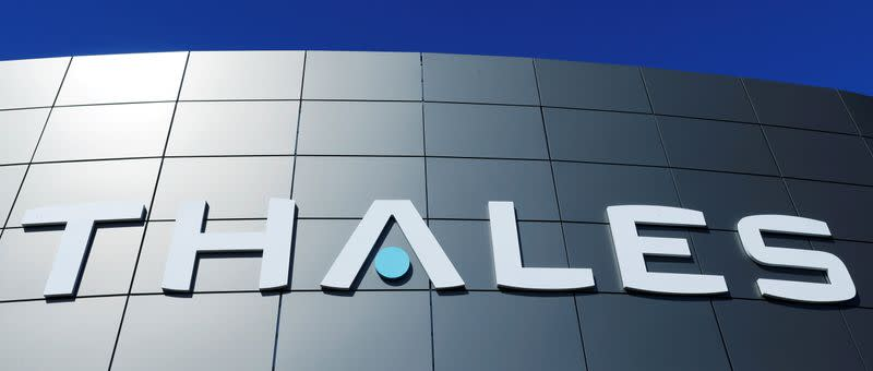 FILE PHOTO: The logo of French defence and electronics group Thales is seen at the company's headquarters in Merignac near Bordeaux
