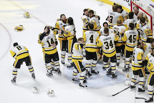 <p>Pittsburgh Penguins players celebrate after winning the 2017 NHL Stanley Cup Finals between the Pittsburgh Penguins and Nashville Predators on June 11, 2017, at Bridgestone Arena in Nashville, TN. (Photo by John Crouch/Icon Sportswire via Getty Images) </p>