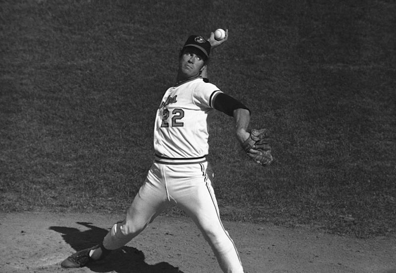 Baltimore pitcher Jim Palmer (22) delivers during a World Series game, Monday, Oct. 11, 1971, Baltimore, Md. (AP Photo)