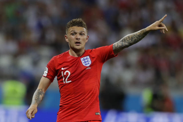 England's Kieran Trippier points during the group G match against Tunisia at the 2018 soccer World Cup in the Volgograd Arena in Volgograd, Russia, Monday, June 18, 2018. (AP Photo/Alastair Grant)