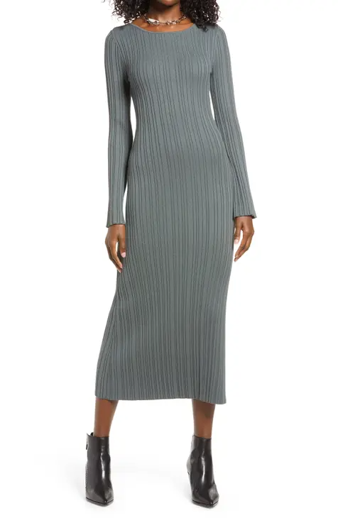"""<br><br><strong>Open Edit</strong> Twist Back Ribbed Long Sleeve Midi Dress, $, available at <a href=""""https://go.skimresources.com/?id=30283X879131&url=https%3A%2F%2Fwww.nordstrom.com%2Fs%2Fopen-edit-twist-back-ribbed-long-sleeve-midi-dress%2F5863651"""" rel=""""nofollow noopener"""" target=""""_blank"""" data-ylk=""""slk:Nordstrom"""" class=""""link rapid-noclick-resp"""">Nordstrom</a>"""