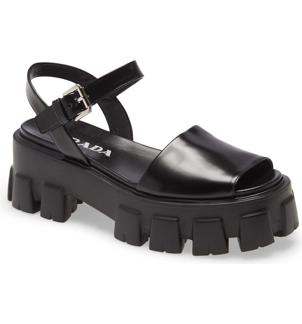 "<h2>Prada Monolith Lug Sole Sandal<br></h2><br><em>Shop sandals at <strong><a href=""https://www.nordstrom.com/browse/women/shoes/sandals"" rel=""nofollow noopener"" target=""_blank"" data-ylk=""slk:Nordstrom"" class=""link rapid-noclick-resp"">Nordstrom</a></strong></em><br><br><strong>Prada</strong> Woven Slingback Platform Sandal, $, available at <a href=""https://go.skimresources.com/?id=30283X879131&url=https%3A%2F%2Fwww.nordstrom.com%2Fs%2Fprada-monolith-lug-sole-sandal-women%2F5789557"" rel=""nofollow noopener"" target=""_blank"" data-ylk=""slk:Nordstrom"" class=""link rapid-noclick-resp"">Nordstrom</a>"
