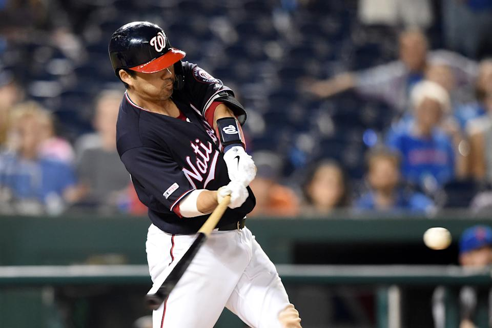 Kurt Suzuki #28 of the Washington Nationals hits a walk off three run home run in the ninth inning during a baseball game against the New York Mets at Nationals Park on September 3, 2019 in Washington, DC. (Photo by Mitchell Layton/Getty Images)