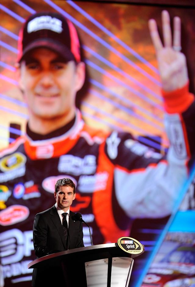 LAS VEGAS, NV - DECEMBER 02: Driver Jeff Gordon speaks during the NASCAR Sprint Cup Series Champion's Week Awards Ceremony at Wynn Las Vegas on December 2, 2011 in Las Vegas, Nevada. (Photo by Ethan Miller/Getty Images)
