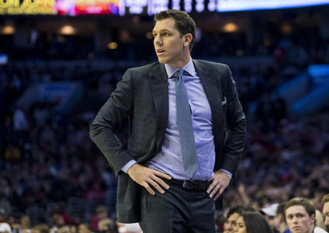 Los Angeles Lakers' head coach Luke Walton looks on during the first half of an NBA basketball game against the Philadelphia 76ers, Sunday, Feb. 10, 2019, in Philadelphia. The 76ers won 143-120. (AP Photo/Chris Szagola)