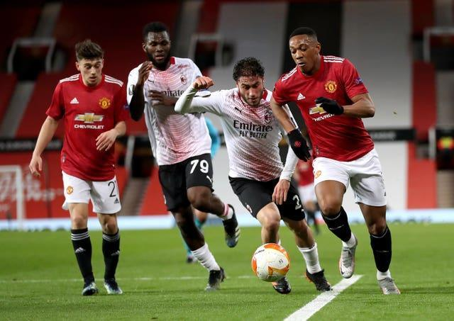 Anthony Martial was replaced at half-time against AC Milan on Thursday