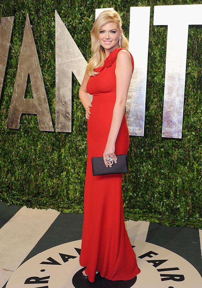 WEST HOLLYWOOD, CA - FEBRUARY 26: Model Kate Upton arrives at the 2012 Vanity Fair Oscar Party at Sunset Tower on February 26, 2012 in West Hollywood, California.