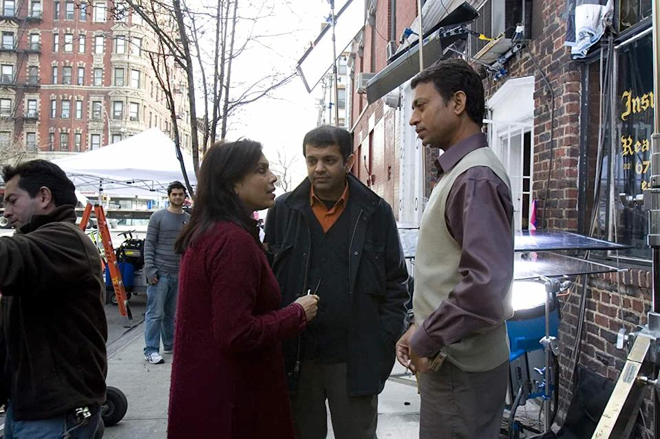 Director Mira Nair and Irrfan Khan on the sets of 'The Namesake' in New York.