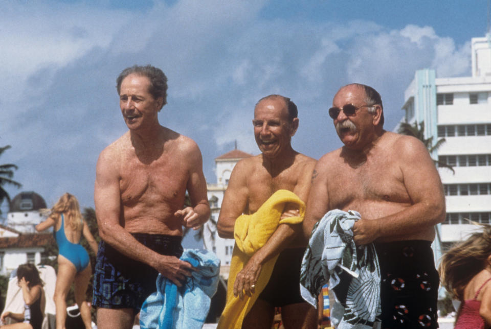 American actor and director Don Ameche (Dominic Felix Amici), American actor Wilford Brimley and Canadian actor Hume Cronyn laughing in swimsuit in the film Cocoon: The Return. 1988 (Photo by Mondadori via Getty Images)