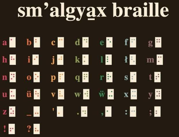 The Sm'algyax braille alphabet created by Harris Mowbray is now available to the public online as a series of illustrations that correspond to characters conventionally used to write Sm'algyax, the traditional language of the Ts'msyen people in northern B.C.  (Harris Mowbray - image credit)