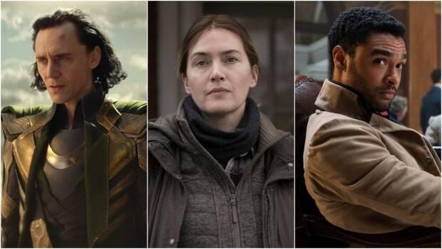 Whether it's bingeing or the weekly release strategy, Disney's Loki, HBO's Mare of Easttown and Netflix's Bridgerton each are offering viewers different ways to stay tuned. (Marvel Studios, HBO, Liam Daniel/Netflix - image credit)