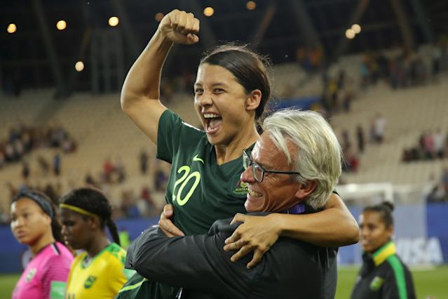 GRENOBLE, FRANCE - JUNE 18: Sam Kerr of Australia celebrates following the 2019 FIFA Women's World Cup France group C match between Jamaica and Australia at Stade des Alpes on June 18, 2019 in Grenoble, France. (Photo by Johannes Simon - FIFA/FIFA via Getty Images)