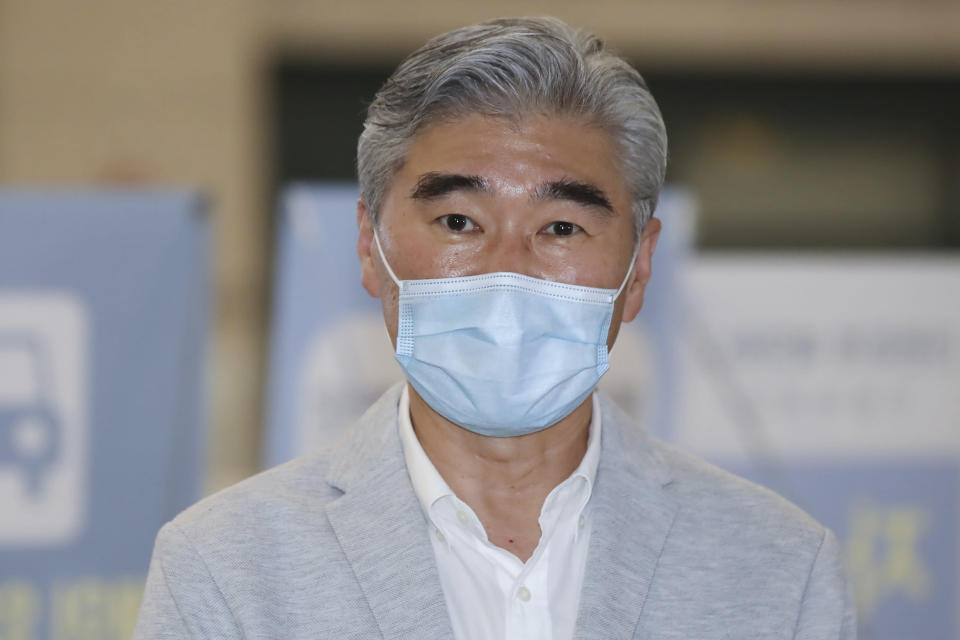 U.S. Special Representative for North Korea Sung Kim arrives at Incheon International Airport in Incheon, South Korea, Saturday, Aug. 21, 2021. Sung Kim will meet with Special Representative for Korean Peninsula Peace and Security Affairs Noh Kyu-duk and other officials. (Kim Do-hun/Yonhap via AP)
