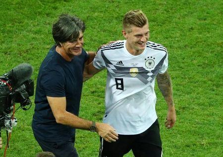 Soccer Football - World Cup - Group F - Germany vs Sweden - Fisht Stadium, Sochi, Russia - June 23, 2018 Germany coach Joachim Low and Toni Kroos celebrate after the match REUTERS/Hannah McKay