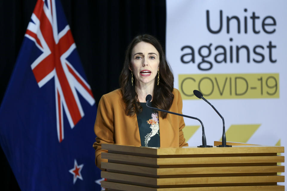 Ardern speaks to media during a post cabinet press conference at Parliament on Monday. (Getty)