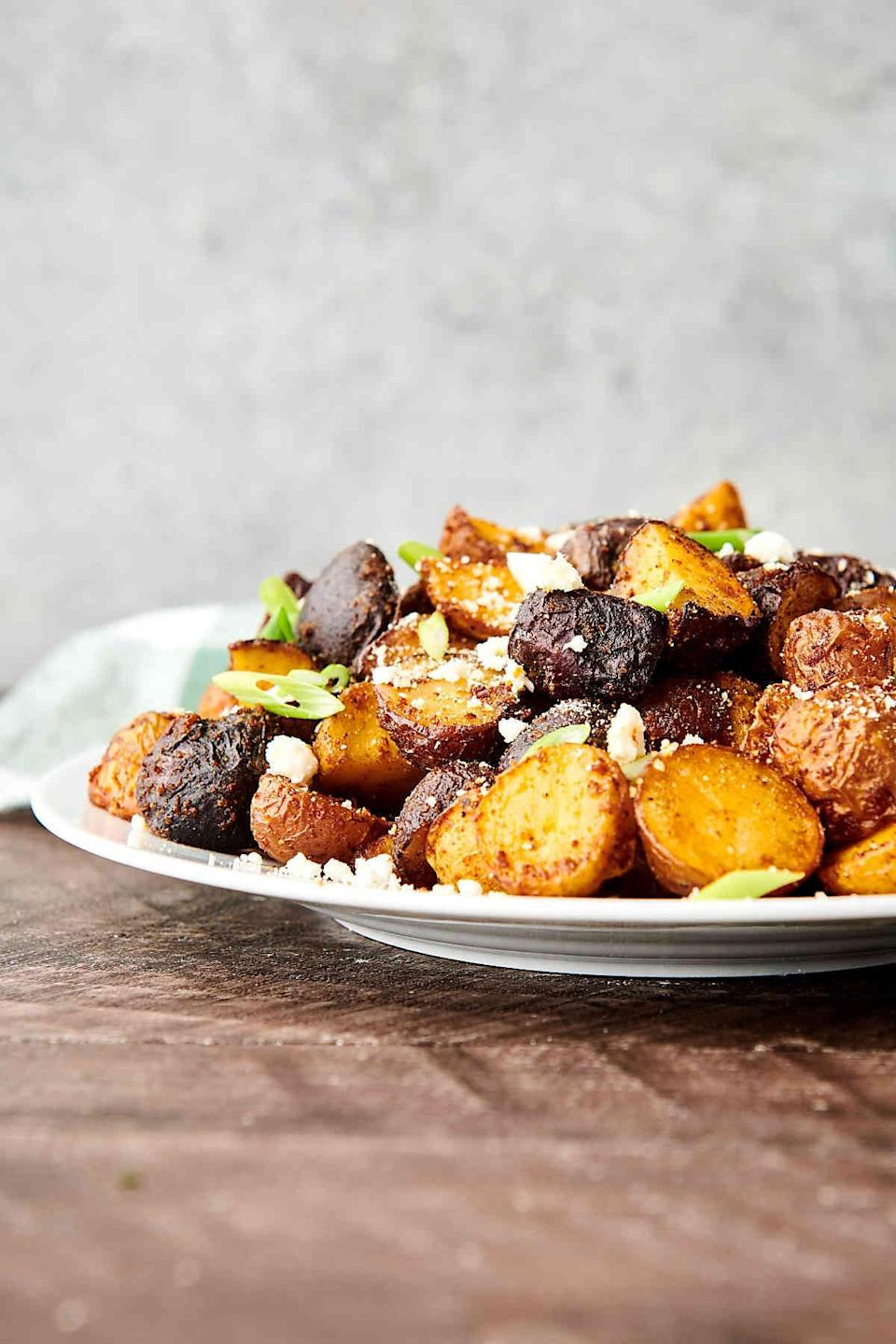 """<p>Wake up right when you have these breakfast potatoes waiting for you. They're fluffy on the inside and crispy on the outside, meaning they pair exceptionally well with ketchup, eggs, and cheese. Enjoy!</p> <p><strong>Get the recipe</strong>: <a href=""""https://showmetheyummy.com/air-fryer-breakfast-potatoes/"""" class=""""link rapid-noclick-resp"""" rel=""""nofollow noopener"""" target=""""_blank"""" data-ylk=""""slk:air fryer breakfast potatoes"""">air fryer breakfast potatoes</a></p>"""