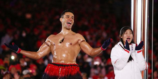 Pita Taufatofua of Tonga stands on stage during the closing ceremony of the Pyeongchang 2018 Winter Olympic Games at Pyeongchang Olympic Stadium on Feb. 25, 2018 in Pyeongchang-gun, South Korea.
