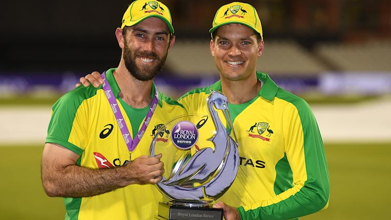 Glenn Maxwell and Alex Carey, pictured here celebrating with the series trophy.