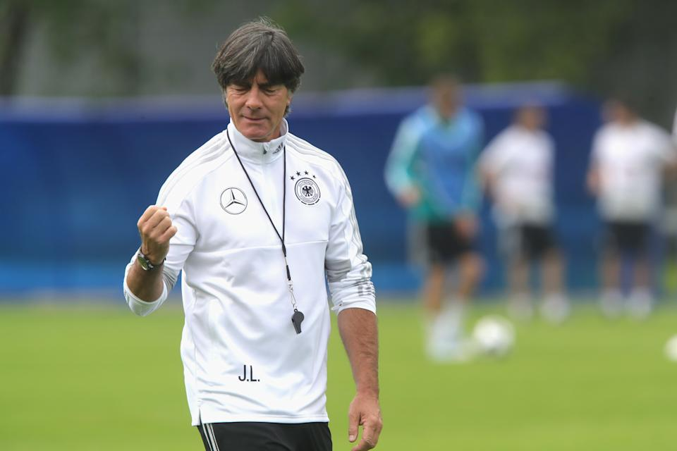 MOSCOW, RUSSIA - JUNE 13:  Joachim Loew, head coach of Germany reacts during the Germany training session ahead of the 2018 FIFA World Cup at CSKA Sports Base on June 13, 2018 in Moscow, Russia.  (Photo by Alexander Hassenstein/Getty Images)