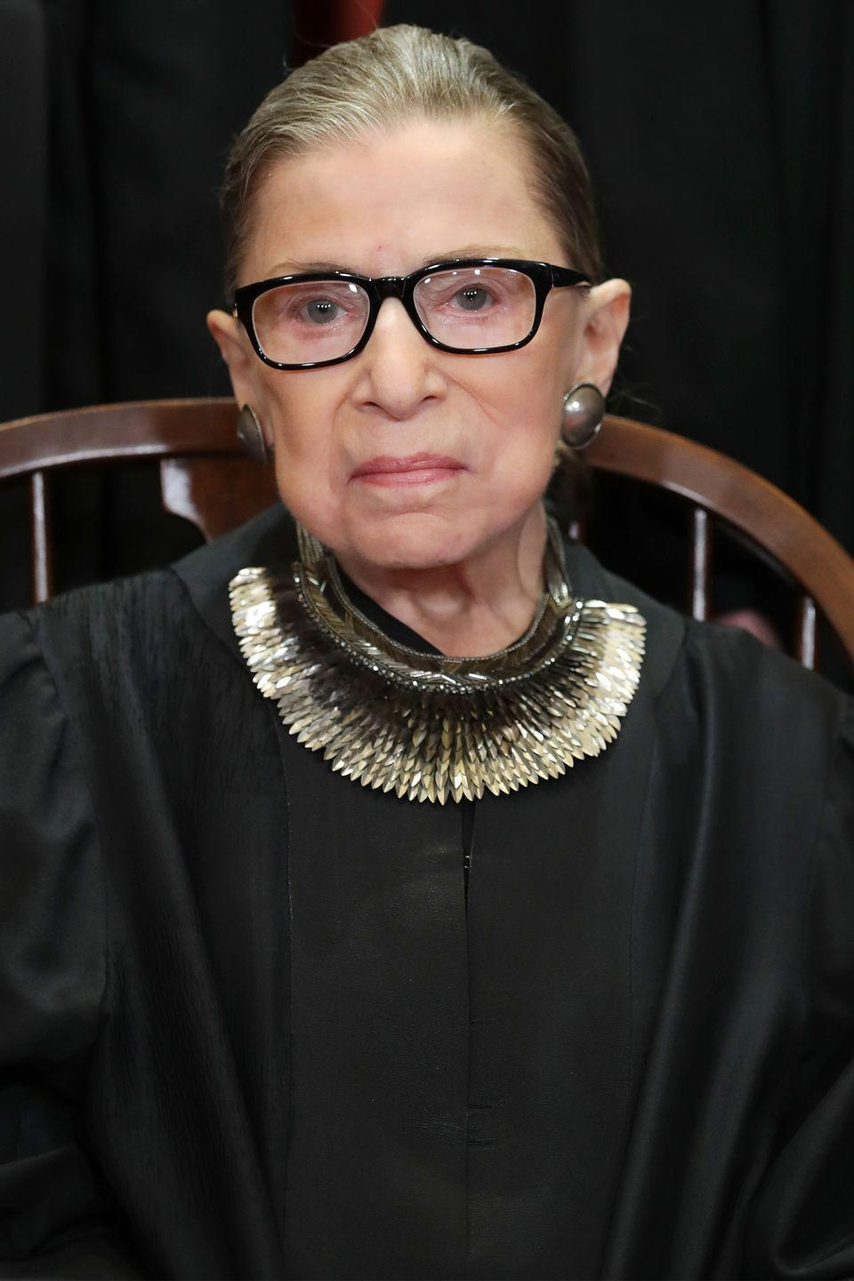 "<p>Through her fight in the Supreme Court for women's rights and equality, Ruth Bader Ginsburg's statement collars gained their own share of praise. Banana Republic even <a href=""https://www.harpersbazaar.com/fashion/trends/a25779096/banana-republic-ruth-bader-ginsburg-dissent-collar/"" rel=""nofollow noopener"" target=""_blank"" data-ylk=""slk:recently reissued"" class=""link rapid-noclick-resp"">recently reissued</a> one.</p>"