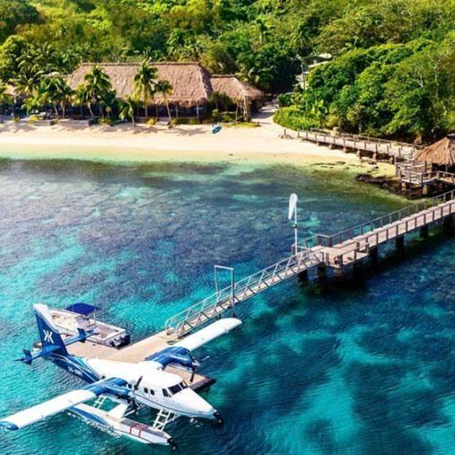 Guests arrive at the newly opened resort in seaplane style. Photo: Instagram