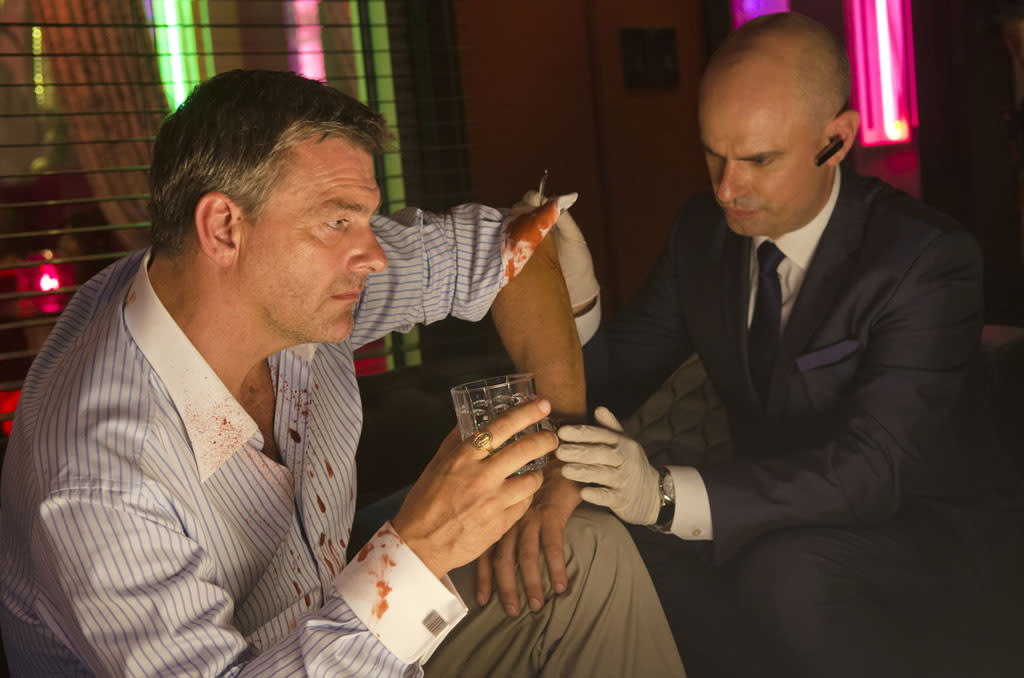 "Ray Stevenson as Isaac and Andrew Kirsanov as Jurg in the ""Dexter"" episode, ""Swim Deep."""