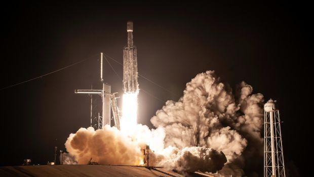 A SpaceX Falcon Heavy flies a mission for the US military.