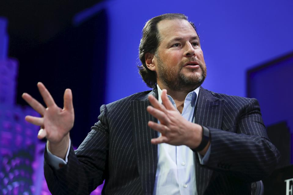 Marc Benioff, Founder, Chairman, and CEO of Salesforce, participates in a panel discussion at the 2015 Fortune Global Forum in San Francisco, California November 3, 2015. REUTERS/Elijah Nouvelage