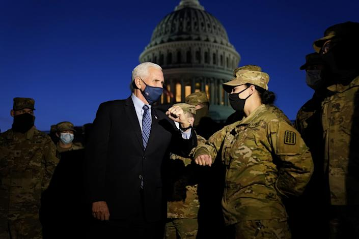 Vice President Mike Pence US Capitol National Guard Elbow Bump January 14 2021.JPG