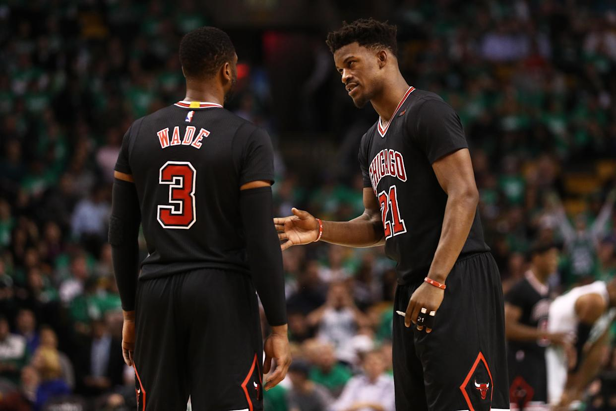 "<a class=""link rapid-noclick-resp"" href=""/nba/players/4912/"" data-ylk=""slk:Jimmy Butler"">Jimmy Butler</a> tries to talk to Dwyane Wade. (Getty Images)"