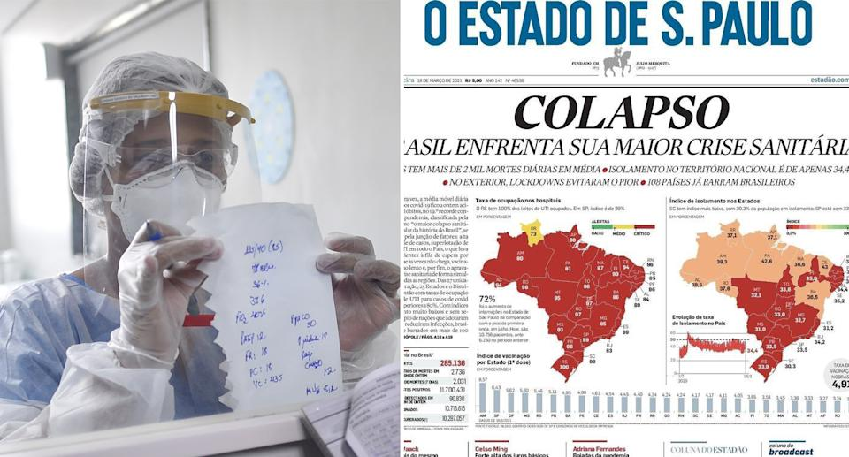 Brazil's hospitals are stretched thin. Front page reads