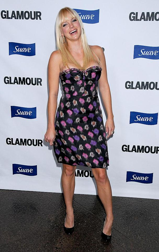 "Did Anna Faris keep this dress from her ""House Bunny"" days? The corset-style top was definitely daring! Gregg DeGuire/<a href=""http://www.wireimage.com"" target=""new"">WireImage.com</a> - October 14, 2008"