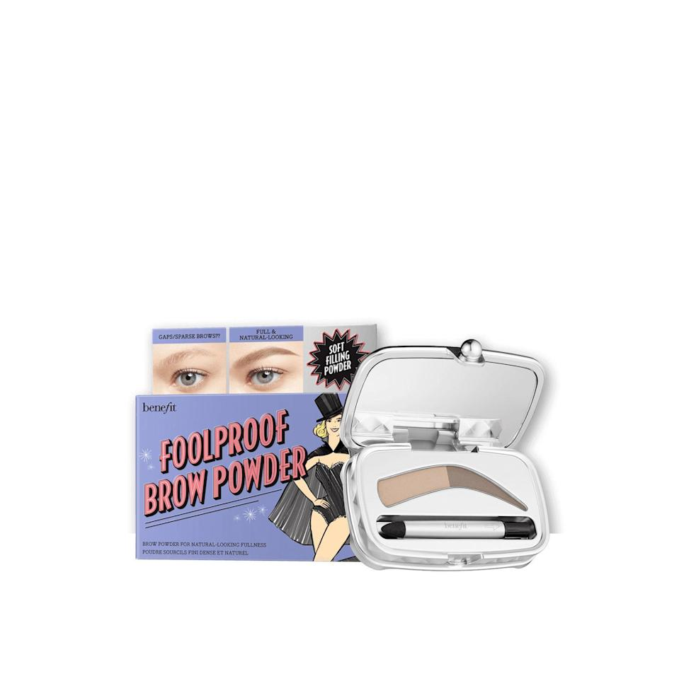 """<p><strong>Benefit Cosmetics</strong></p><p>benefitcosmetics.com</p><p><a href=""""https://go.redirectingat.com?id=74968X1596630&url=https%3A%2F%2Fwww.benefitcosmetics.com%2Fus%2Fen%2Fproduct%2Ffoolproof-eyebrow-powder%23%26sku%3DIB202&sref=https%3A%2F%2Fwww.marieclaire.com%2Fbeauty%2Fg33323791%2Fbenefit-sale-july-2020%2F"""" rel=""""nofollow noopener"""" target=""""_blank"""" data-ylk=""""slk:SHOP IT"""" class=""""link rapid-noclick-resp"""">SHOP IT </a></p><p><del>$24</del><strong><br>$17</strong></p><p>If you want to keep your eyebrows <em>au naturale</em>, this powder will give the appearance of a full, fresh set.</p>"""