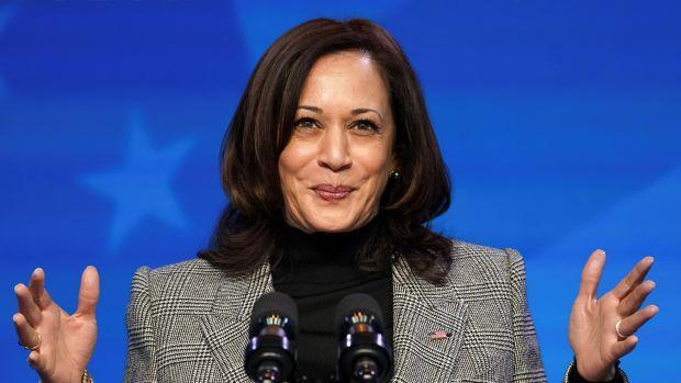 U.S. Vice President Kamala Harris speaks after U.S. President-elect Joe Biden introduced key members of his White House science team at his transition headquarters