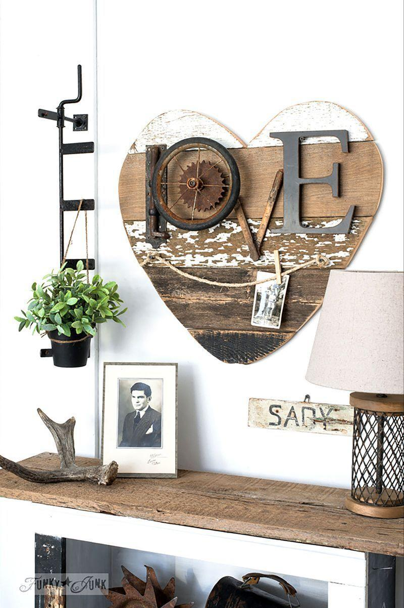 """<p>Show your love for mom with this heart-shaped wall art made from reclaimed wood. </p><p><em><strong>Get the tutorial from <a href=""""http://www.funkyjunkinteriors.net/2017/02/3-ways-to-use-a-reclaimed-wood-salvaged-junk-heart.html"""" rel=""""nofollow noopener"""" target=""""_blank"""" data-ylk=""""slk:Funky Junk Interiors"""" class=""""link rapid-noclick-resp"""">Funky Junk Interiors</a>. </strong></em><br> </p>"""