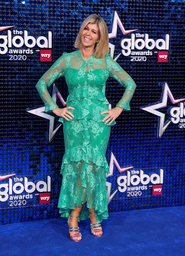 Kate Garraway wore a green tiered lace dress from Very at the awards show. (Getty Images)