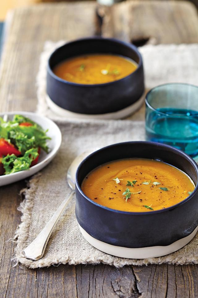 """<p><b>Recipe: <a href=""""https://www.southernliving.com/recipes/butternut-squash-soup"""">Butternut Squash Soup</a></b></p> <p>Is it really the fall until you've enjoyed a nice bowl of butternut squash soup? For parties or tailgates, we love to ladle out portions of this warming soup in mugs for easy on-the-go enjoyment.</p>"""