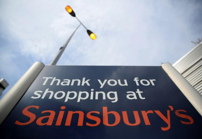 FILE PHOTO: A Sainsbury's supermarket sign is seen in London