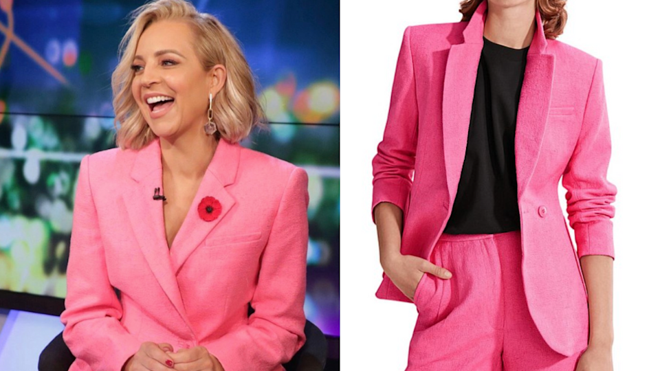 Carrie bickmore wearing a pink blazer