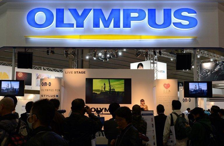 An Olympus booth at a photo-imaging show in Yokohama, on January 31, 2013