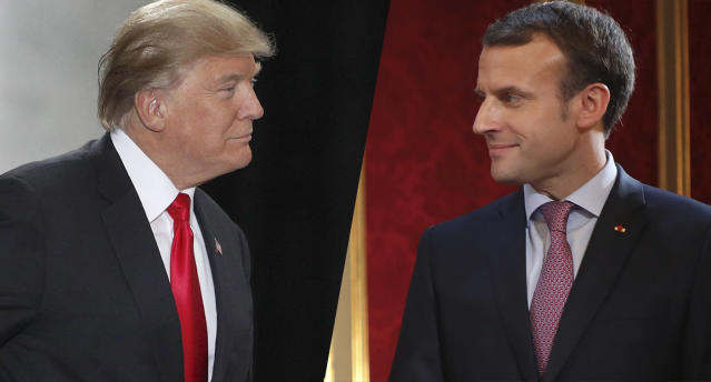 President Trump and French President Emmanuel Macron. (Photos: George Frey/Getty Images; Ludovic Marin/AFP/Getty Images)