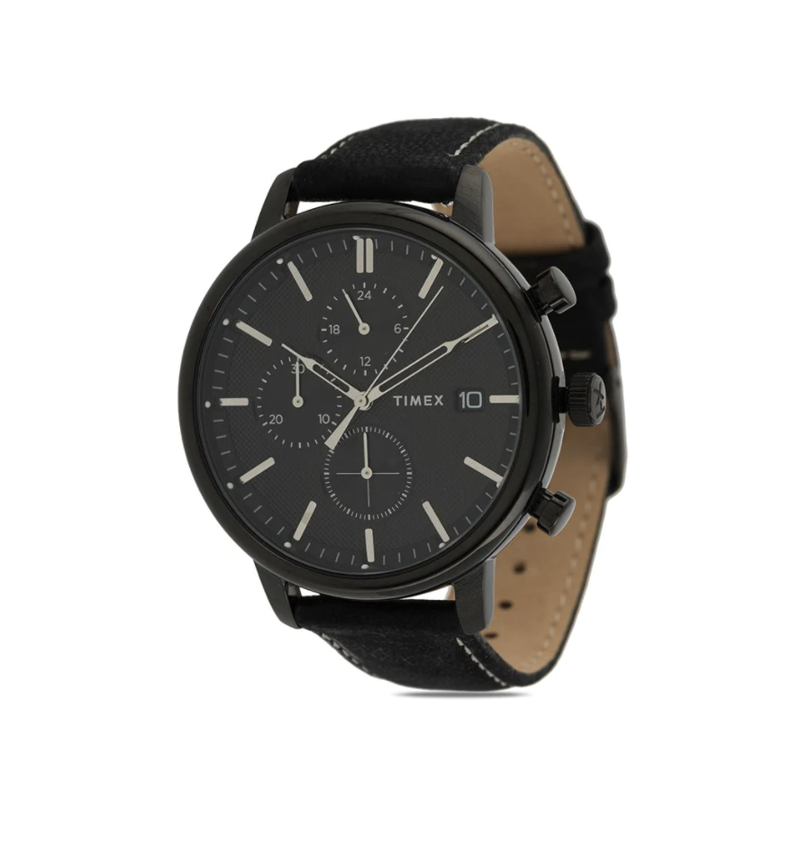 black timex watch with black face and black and tan band