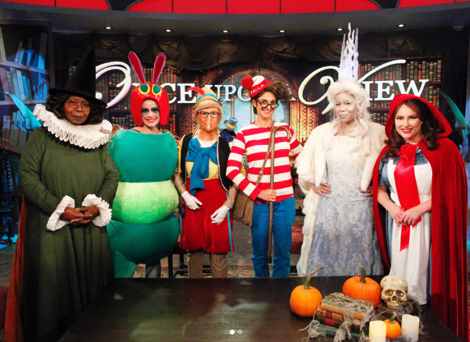 """<p>""""When Mother Goose, The Very Hungry Caterpillar, Pinocchio, Waldo, the White Witch from 'The Lion, the Witch and the Wardrobe', and Little Red Riding Hood all meet at the #HotTopics table!"""" a snapshot of co-hosts Whoopi Goldberg, Sara Haines, Joy Behar, Paula Faris, Sunny Hostin, and Meghan McCain was captioned. Their theme, of course, was """"Once Upon a View."""" (Photo: Instagram/The View) </p>"""