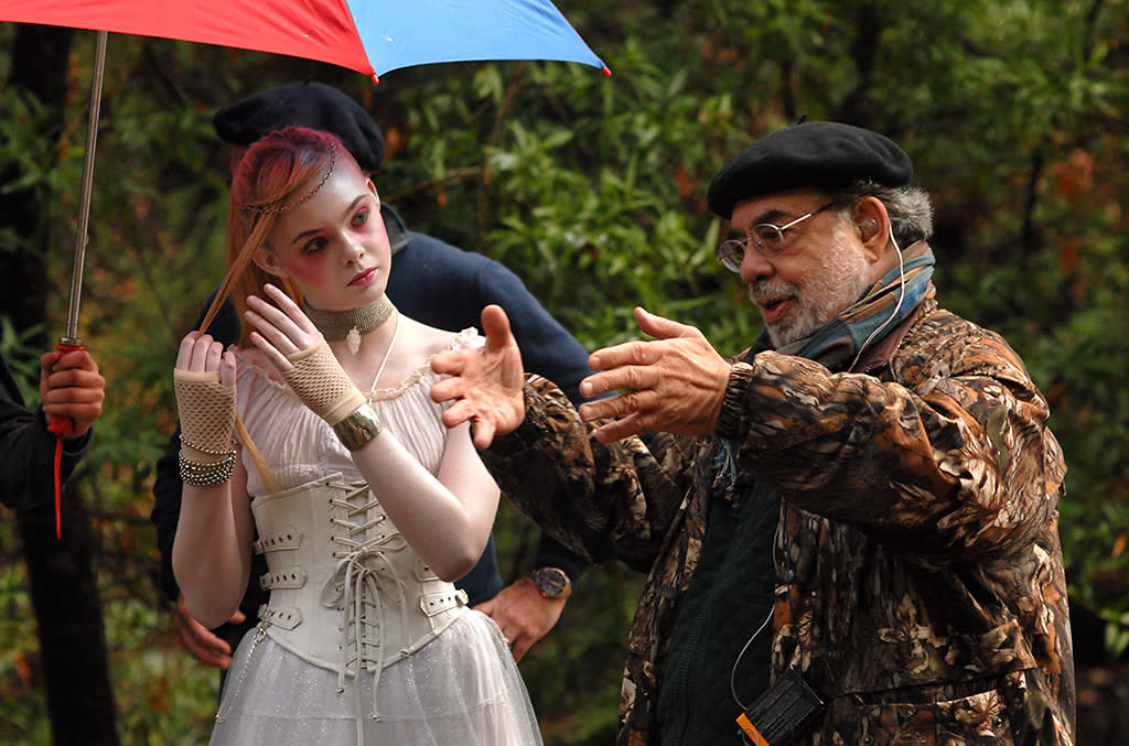 """Elle Fanning and Francis Ford Coppola on the set of American Zoetrope's """"Twixt"""" - 2011"""