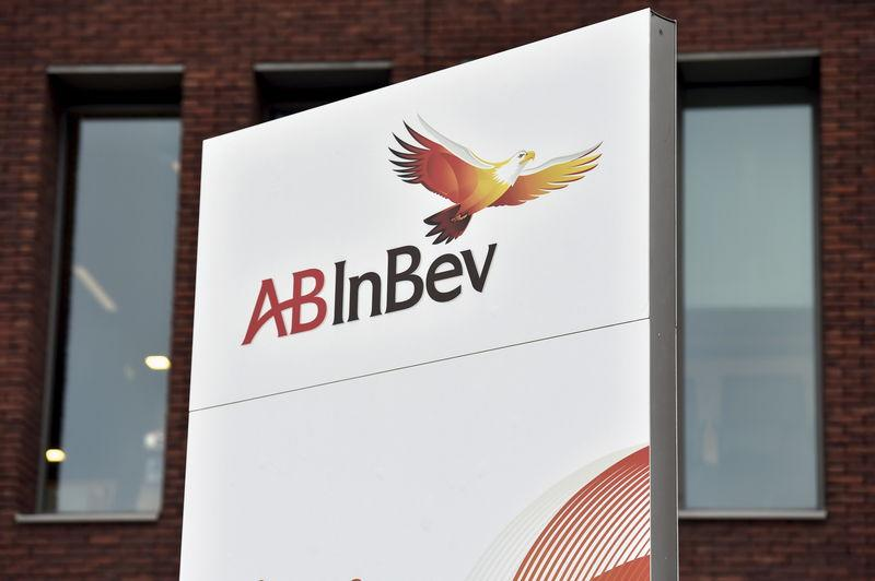 The logo of Anheuser-Busch InBev is pictured outside the brewer's headquarters in Leuven