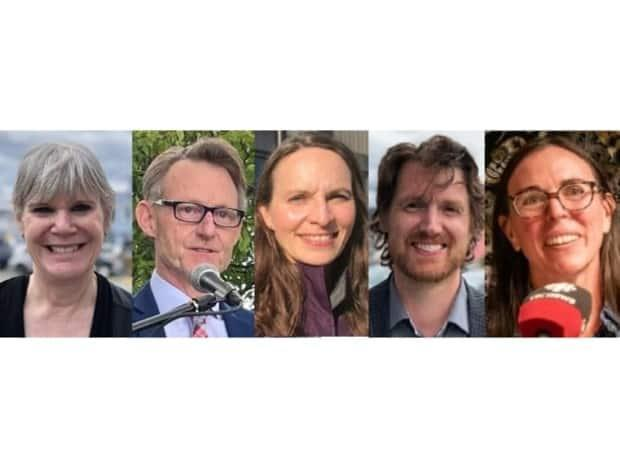 From left to right, the five candidates running to become the next Yukon MP are Barbara Dunlop, Brendan Hanley, Lenore Morris, Jonas Smith and Lisa Vollans-Leduc. (CBC - image credit)